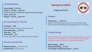 training fee 2017