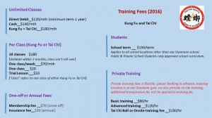 training fee 2016