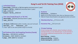 Kung Fu training fee 2018